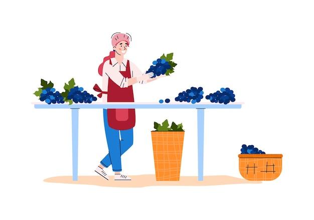 Mulher classificando uva na ilustração plana dos desenhos animados da planta de processamento de uvas
