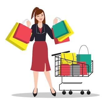 Mulher cliente fazendo compras com conceito de carrinho de mão