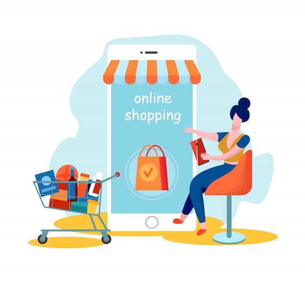 Mulher cliente uso mobile app para compras on-line