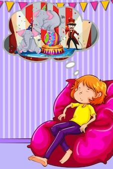 Mulher, cochilando, sofá