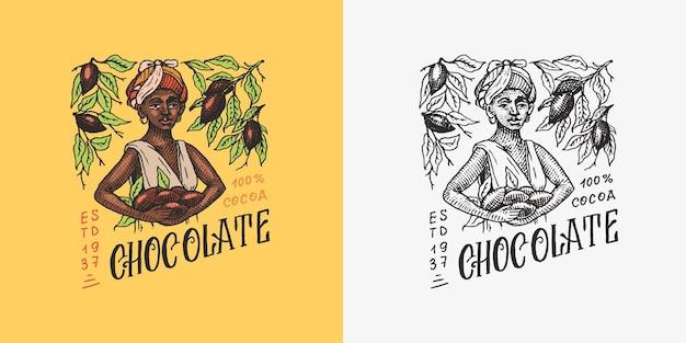 Mulher colhida grãos de cacau, grãos de chocolate, emblema vintage ou logotipo para loja de tipografia de camisetas ou