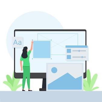 Mulher colocando um retângulo na tela e outro ícone do design