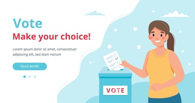 Mulher colocando voto na urna