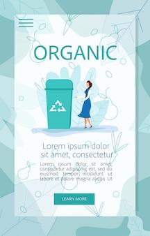 Mulher colocar lixo orgânico para reciclagem recipiente
