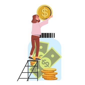 Mulher colocou dinheiro dentro do frasco. economia financeira