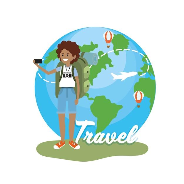 Mulher com a câmera e viajar ao redor do mundo
