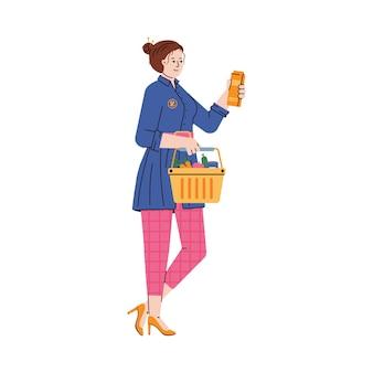 Mulher com a cesta cheia faz compras no supermercado ilustração vetorial