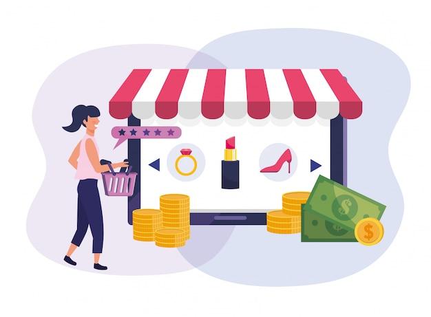 Mulher com a tecnologia de ecommerce de carrinho de compras e tablet