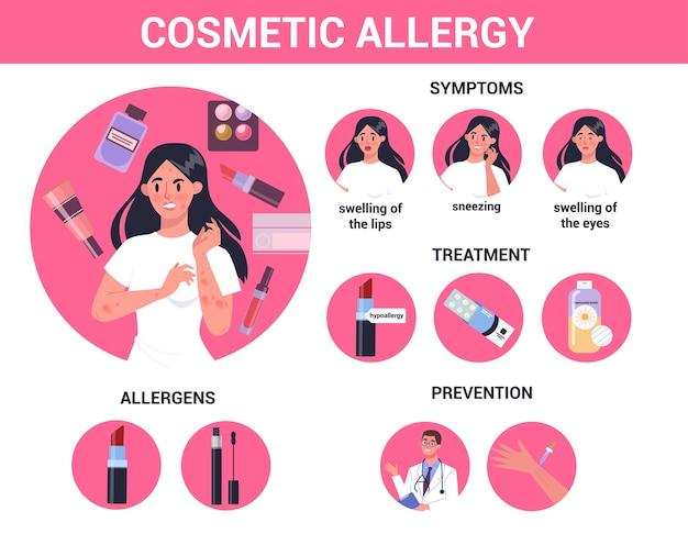 Mulher com alergia, sintomas e tratamento a cosméticos. pele vermelha e coceira. reação alérgica ao produto. hipersensibilidade aos componentes do produto.