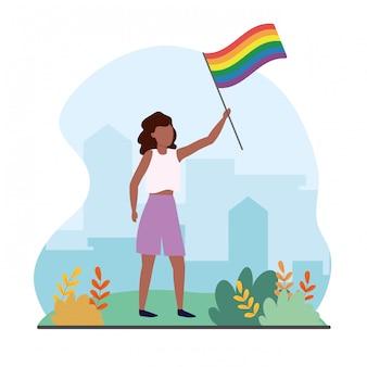 Mulher, com, arco íris, bandeira, para, lgbt, liberdade