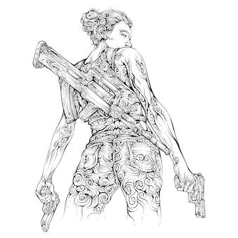 Mulher com arma de mão e espingarda de assalto na mão desenhando estilo cruel