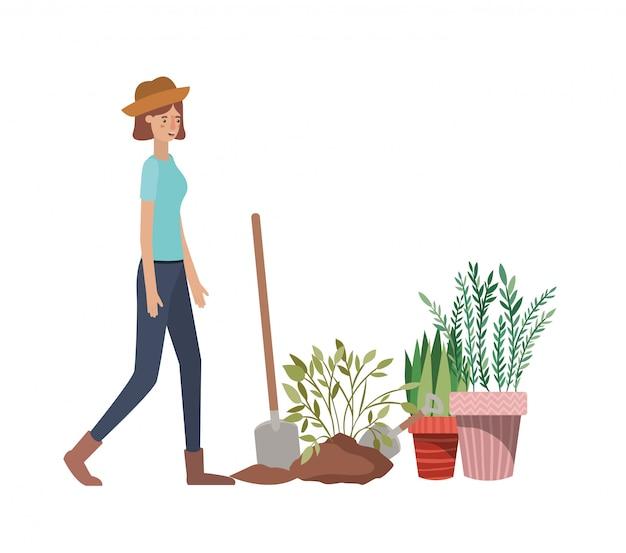 Mulher, com, árvore, para, planta, personagem avatar