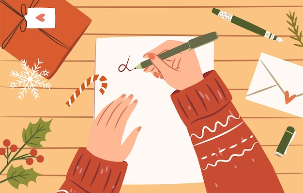 Mulher com as mãos com uma caneta escrevendo uma carta para o papai noel vista superior ilustração aconchegante de natal