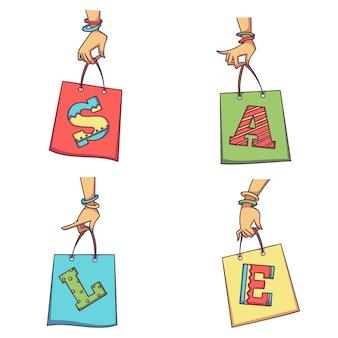 Mulher com as mãos segurando sacolas com letras de venda