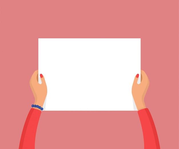 Mulher com as mãos segurando um cartaz branco em branco vazio. conceito de protesto ou propaganda. ilustração vetorial plana