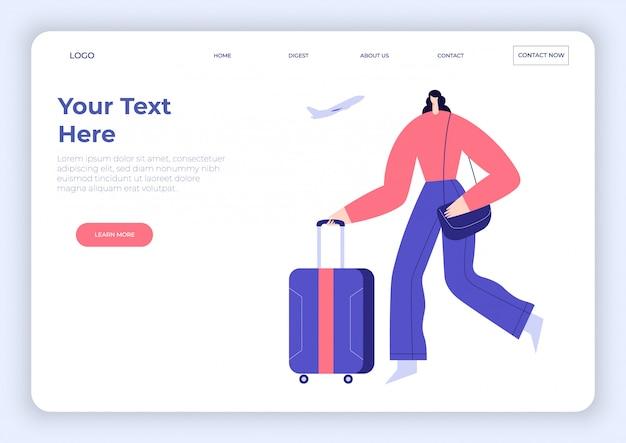Mulher com bagagem, bolsa, correndo pelo aeroporto. personagem de desenho animado viajante feminino, avião a voar. modelo de página de destino. ilustração plana.