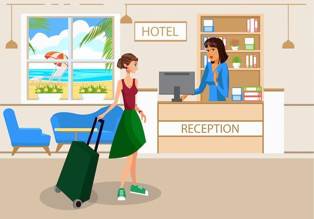 Mulher com bagagem no desenho do vetor de lobby do hotel