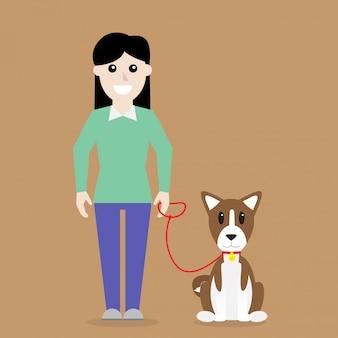 Mulher, com, basenji, cão, vetorial