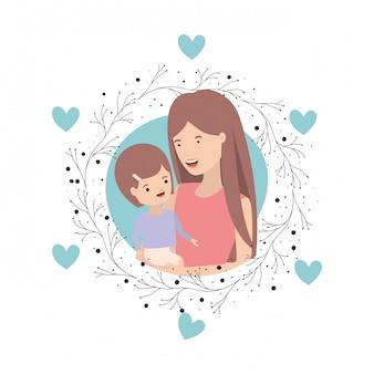 Mulher, com, bebê, avatar, personagem