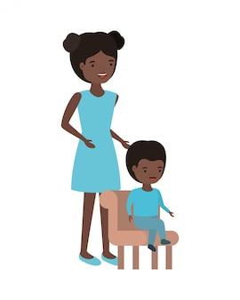 Mulher, com, bebê sentando, ligado, cadeira, avatar