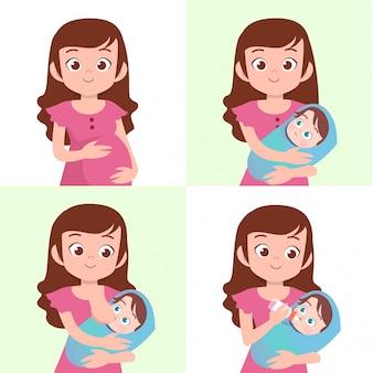 Mulher, com, bebê