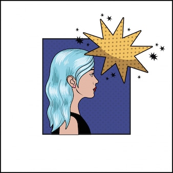 Mulher com cabelo azul e estilo de bolha do discurso pop art