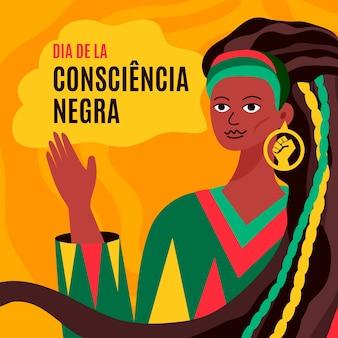 Mulher com cabelo comprido preto dia da consciência