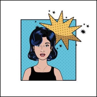 Mulher com cabelo preto e discurso bolha estilo pop art