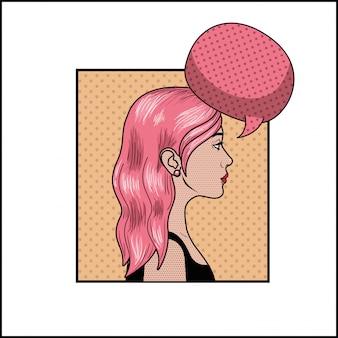 Mulher com cabelo rosa e discurso bolha estilo pop art