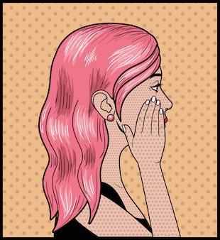 Mulher com cabelo rosa estilo pop art