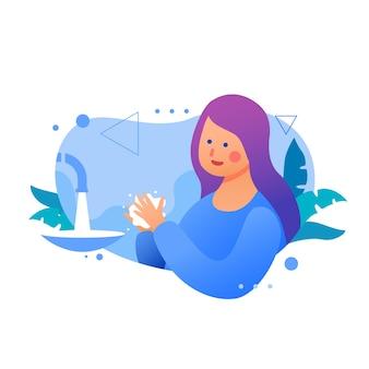 Mulher com cabelo violeta, lavando as mãos