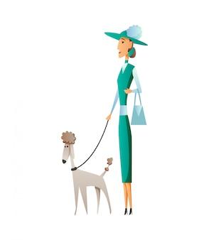 Mulher com cachorro isolado no fundo branco. segurando seu animal doméstico. personagem de desenho animado plana feminina.