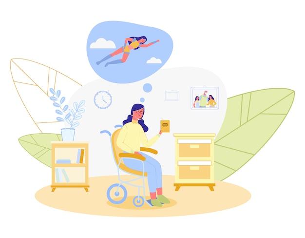 Mulher com cadeira de rodas, livro de leitura sobre super-herói