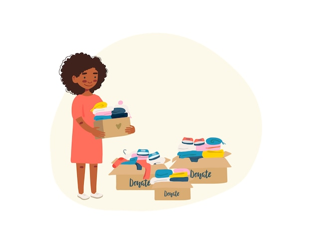Mulher com caixas de cartão com roupas para doação