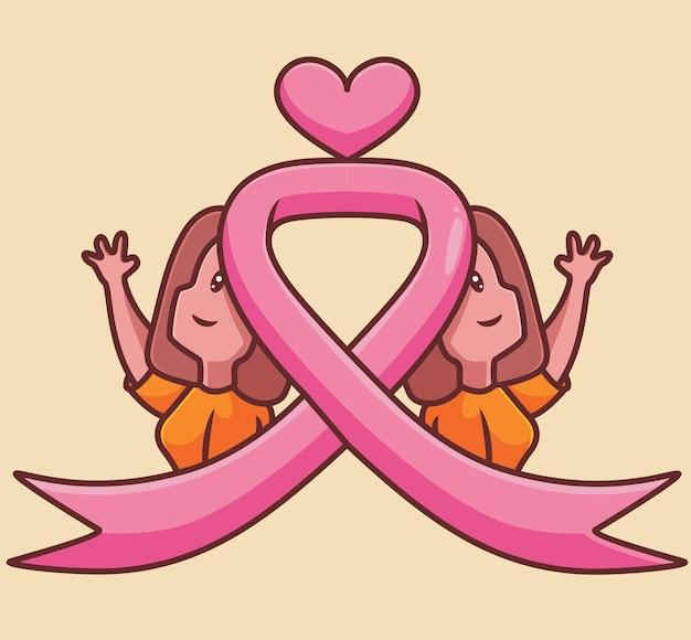 Mulher com câncer de mama gêmeo fita rosa mulher cartoon conceito de câncer ilustração isolada estilo simples
