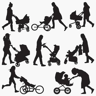 Mulher, com, carrinho criança, silhuetas