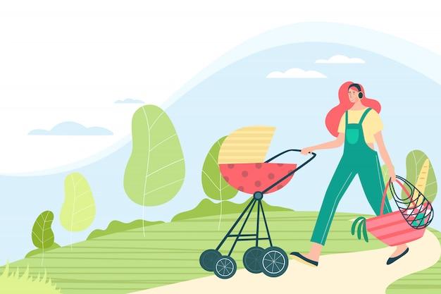 Mulher com carrinho de bebê
