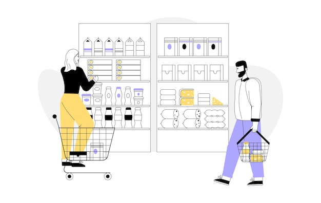 Mulher com carrinho de compras escolhe produtos, prateleiras com variedade de mercadorias.