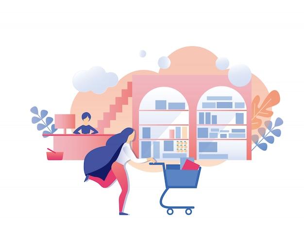 Mulher com carrinho de compras pressa para comprar com desconto