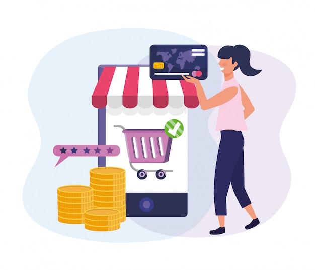 Mulher com cartão de crédito e ecommerce smartphone