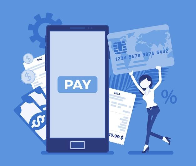 Mulher com cartão para fazer contas digitais, pagamento móvel. consumidor feminino, mulher de negócios pagando por produtos online, produto, suporte, serviço, conteúdo de smartphone. ilustração vetorial com personagem sem rosto