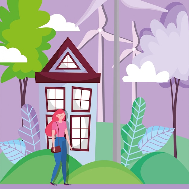 Mulher com casa e turbinas eólicas