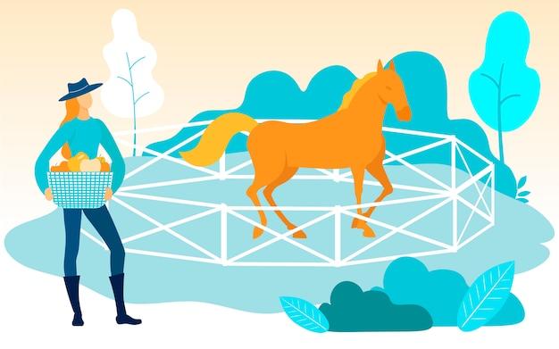 Mulher com cesta na mão. gabinete com cavalo.