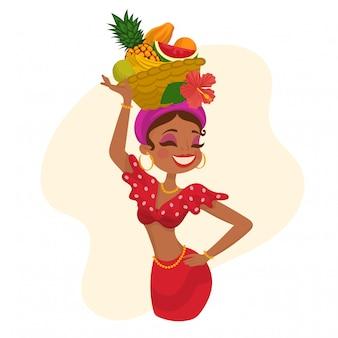 Mulher com chapéu de frutas na cabeça dela