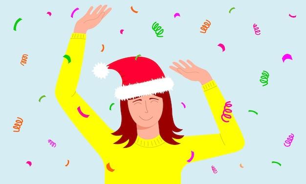 Mulher com chapéu de papai noel dançando com os olhos fechados conceito de celebração de natal ou ano novo
