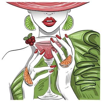Mulher, com, citrus, martini, coquetel, em, chapéu