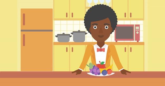 Mulher com comida saudável.