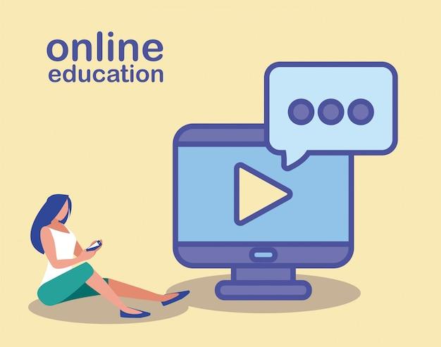 Mulher com computador desktop, educação on-line