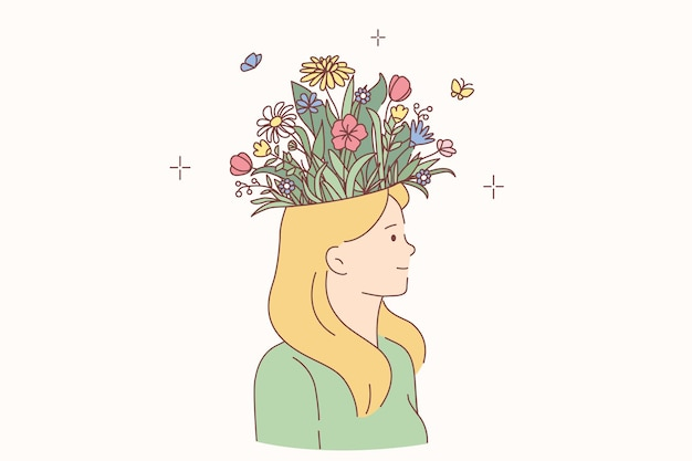 Mulher com conceito de cabeça florescendo. jovem sorridente loira personagem de desenho animado em pé tendo um buquê de flores desabrochando na cabeça ilustração vetorial