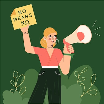 Mulher com conceito de direitos civis pro megafone